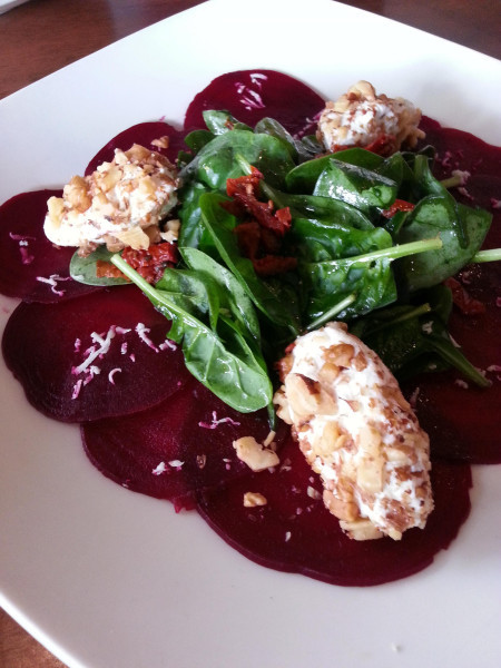 Beetroot Carpaccio with goat cheese. A refreshing starter to the meatier dishes.