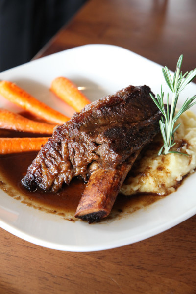 Marinated for 24 hours and braised in beer reduction sauce, the short rib is delightful!