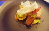 Pork Cheek with Pork Belly, Jamon, Braised Cabbage and Charred Onions