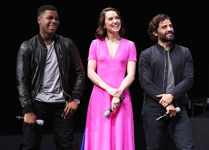 The new stars of Star Wars: The Force Awakens at the event, John Boyega (Finn), Daisy Ridley (Rey) and Oscar Isaac (Poe Dameron)