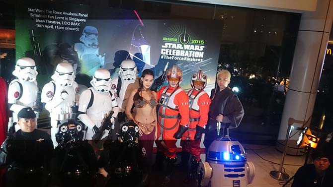 The 501st Legion and others dressed up in Star Wars costumes for the simulcast at Lido, including a very attractive Princess Leia