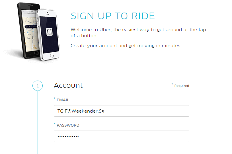 how to create uber account