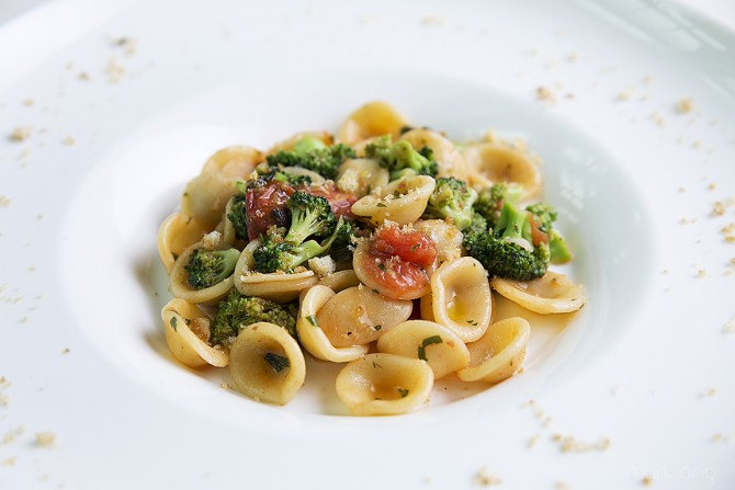 orecchiette with fresh turnip top and tomatoes anchovies