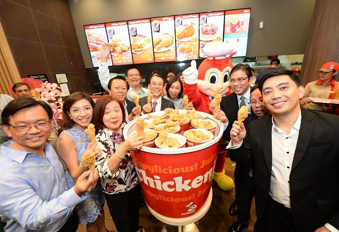 Chickenjoy Toast at the grand opening of Jollibee's 4th store at Changi City Point