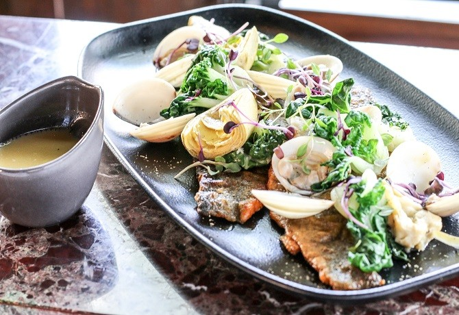 Salt tapas & bar Grilled Day Fish with white wine clams, artichoke and pak choy