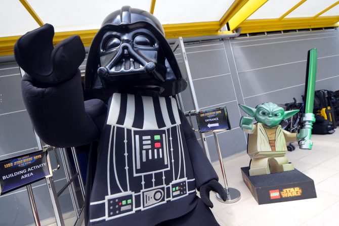 LEGO Yoda mastering his force with LEGO Darth Vader