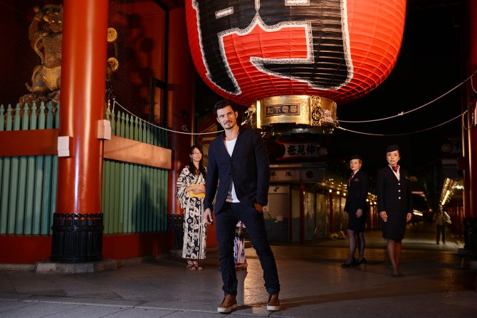 In this handout image provided by British Airways, Orlando Bloom in Tokyo to celebrate the launch of the new 787-9 aircraft to Narita, Tokyo on August 19, 2016 at Tokyo, Japan.