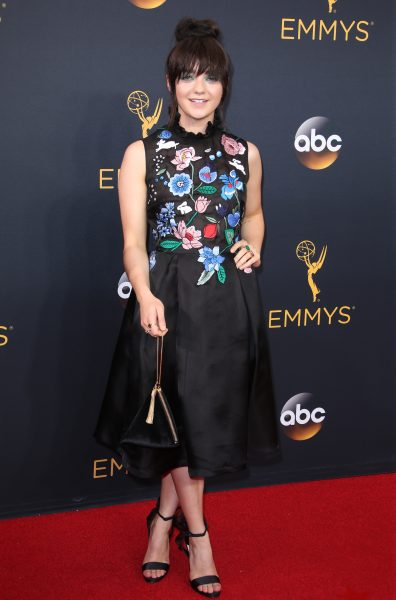 Mandatory Credit: Photo by Matt Baron/BEI/Shutterstock (5899267uj) Maisie Williams 68th Primetime Emmy Awards, Arrivals, Los Angeles, USA - 18 Sep 2016 WEARING MARKUS LUPFER HANDBAG BAG BY CHARLES AND KEITH