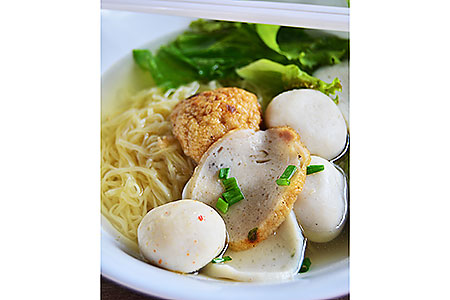 Fishball noodle hawker food stall local dining dinner family
