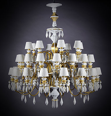 Lladro 60th anniversary chandelier collection reowned spanish porcelain art brand launch new concept lamps lighting exhibition auction works charity contemporary home decorations international belle de nuit limited edition