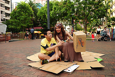 The characters of Ethan and the Cardboard Box Aunty