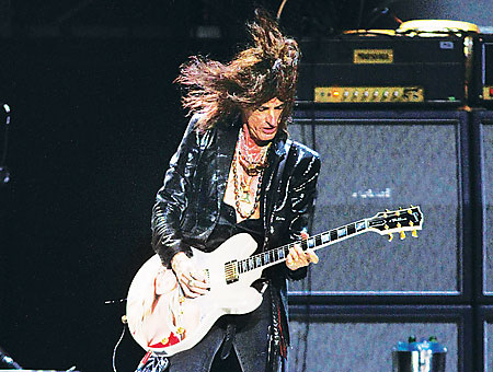 The crowd was entertained by Joe Perry's electrifying tunes, as well as his many guitar changes