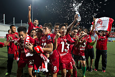 The Lions XII team is ecstatic after their Malaysian Super League victory