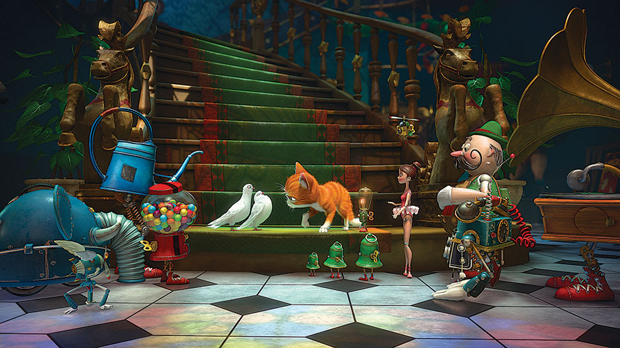 Lawrence shares his fairy-tale world with many animals and a dazzling array of automatons and gizmos
