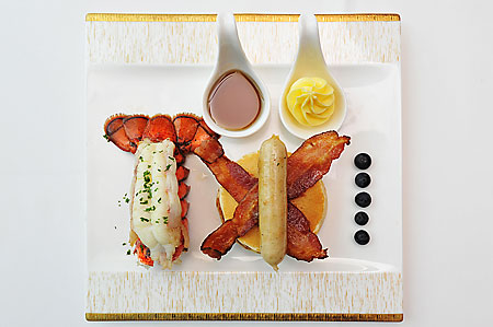 Oven Baked Nova Scotia Atlantic Lobster with Pancake Stack