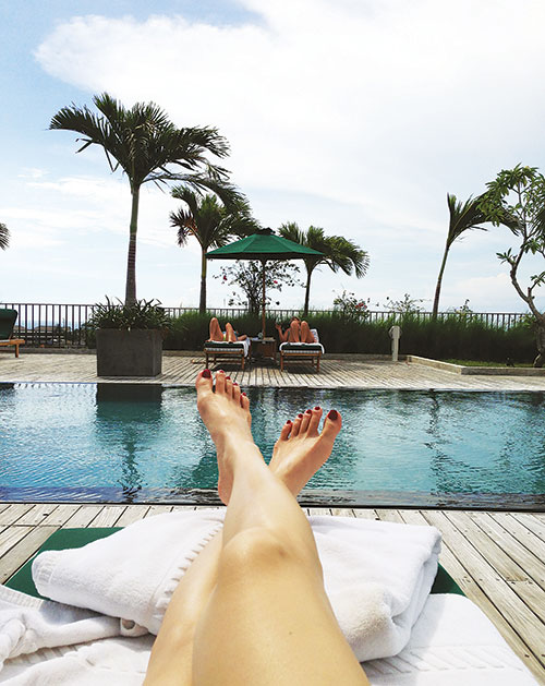 Shareen relaxing by the poolside in Bali