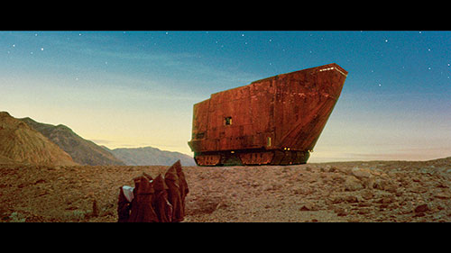 The Sandcrawler vehicle of the Jawas in Star Wars