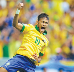 Neymar scored two goals and led the samba boys to convincing victory in their first game Photo: Jefferson Bernardes / Shutterstock.com