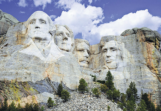 Mount Rushmore with the presidential facades