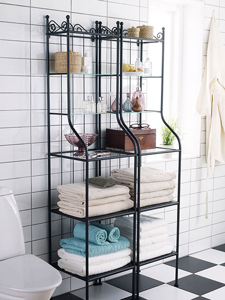 Storage in the bathroom should be compact, space-saving and, of course, waterproof; factors that make the Ronnskar shelving unit an ideal bathroom solution. $49.90 each, from IKEA