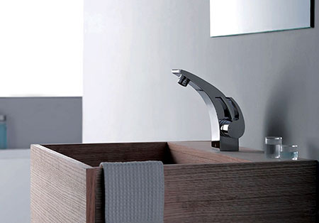 The GF 8006.001 faucet takes inspiration  from the dramatic curves of a rainbow. $260 by G.Ferretti, from Living Phenomenon