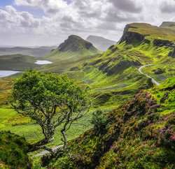 The breathtaking view of Quiraing mountains in the Isle of Skye looks like a scene in a painting