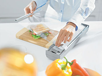 Kitchen Helpers With so much that goes on in the kitchen, we need all the help we can get. Blum's Orga-line of accessories for the drawer or on the counter makes kitchen tasks much easier. The range includes a plastic wrap dispenser, aluminium foil dispenser, plate holder, knife holder and a spice tray.  From $54, from Blum