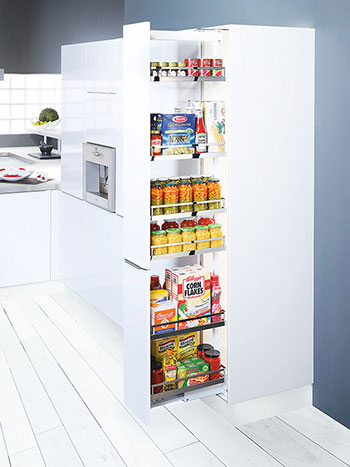 Keep in View With kitchens coming as small as they are these days, every sliver of space is important. Hafele's larder unit will help you put every pocket of space to good use. Best of all, no more digging around in a dark cabinet for provisions. Simply slide the larder unit out to have your pantry in full view.  From $799.80 from Hafele