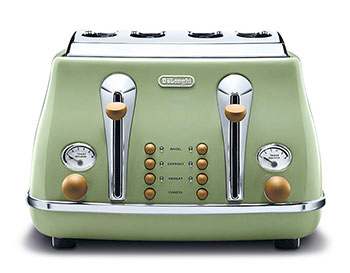 Toast Master Marry the comfort of toasted bread with the retro-charm of yesteryear and you get mornings to look forward to. The Delonghi Icona Vintage Toaster comes with chrome- embossed details, and boasts electronic controls for reheating, defrosting and one-sided bagel toasting. It even comes with a progressive browning control to get your toast done just right. $169 from Tangs