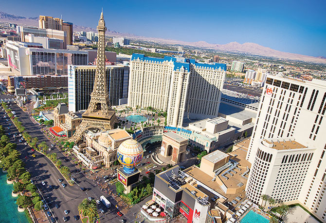 """Las Vegas is known as """"Sin City"""" and is famous for its extravagance, including a replica  Eiffel Tower, Statue of Liberty, etc."""