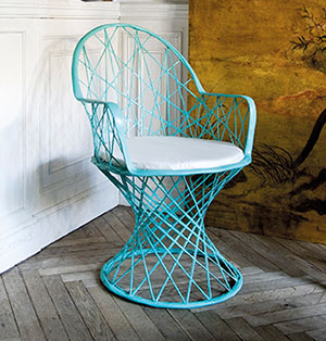 Inside Out Who says outdoor furniture needs to be boring? We love this handcrafted fibreglass seat that works both indoors and outdoors. Lobster's Day Q Chair, $539, from CMYK