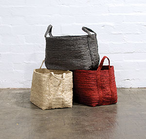 Carry All Get rid of those ugly cardboard boxes  and plastic containers, and replace them with these colourful baskets.  Baha Baskets, $75 each, from Shiva Designs