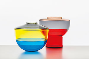 Colour Me Perfect Whether you use them as a vase, a bowl or a table centrepiece, these Shibuya containers will put a smile on your face. We love these acrylic containers' graphical take on traditional Japanese lacquerware. Kartell Shibuya containers, price on enquiry, from Space