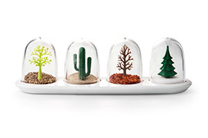 Seasoned Shakers Dinner parties will get a dash of quirkiness when you serve up these shakers with your entrees. Each shaker represents a different season, such as a cactus for summer and pine tree for winter.   Four Season shakers, $49 for a set of four, from Totally Hot Stuff