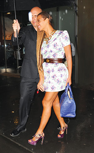 Celebrity Sighting! The Queen B, Beyonce, was spotted out and about with her CH Carolina Herrera Andy Bag in blue crocodile, in New York. She wore her hair in cornrows, and a flowery summer dress.