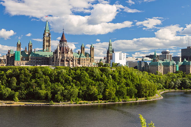 The historic Parliament Hill in the capital of Canada