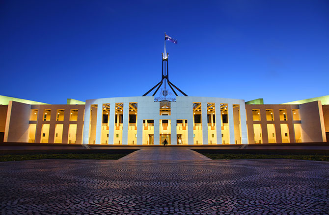 The Parliament House of Australia is an architectural beauty