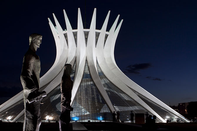 The very modern Cathedral of Brasilia at night Photo: gary yim / Shutterstock.com