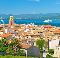 Blue skies add to the picturesque view of Saint Tropez