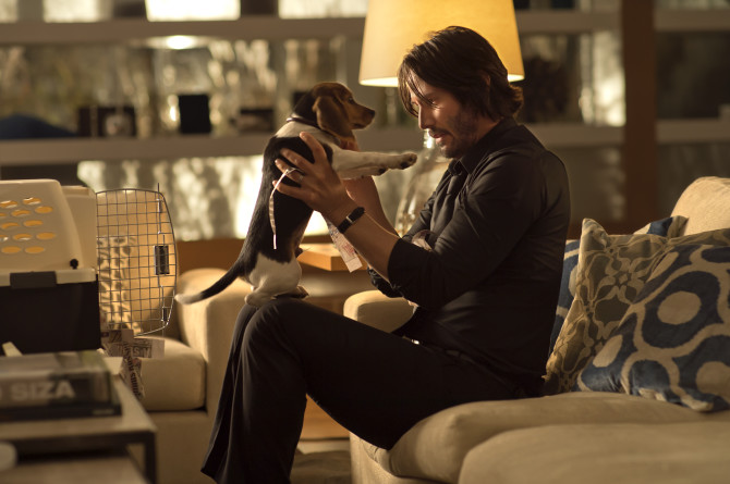 The beagle puppy may have been Reeve's favourite part of John Wick