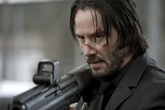 Keanu sheds his sharp cut for a shabby, weathered anti-hero look