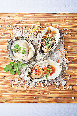 #50 Food Skyve in a Wine Bistro Trio of Oysters: Chilean, Kilpatrick & Mentaiyaki