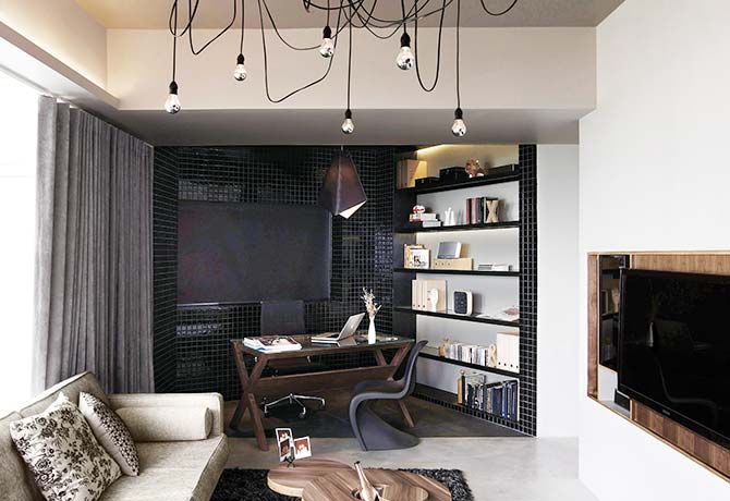 The living area is both a destination and a transitional space in this apartment