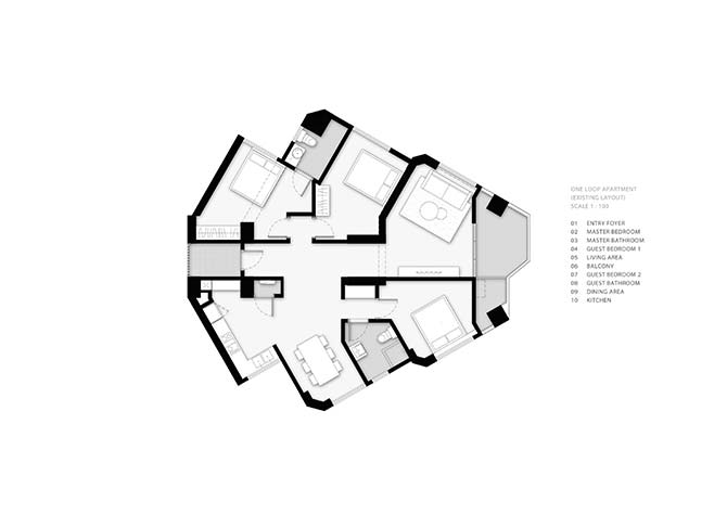 Before: The original layout of the apartment was an awkward composition of odd angles