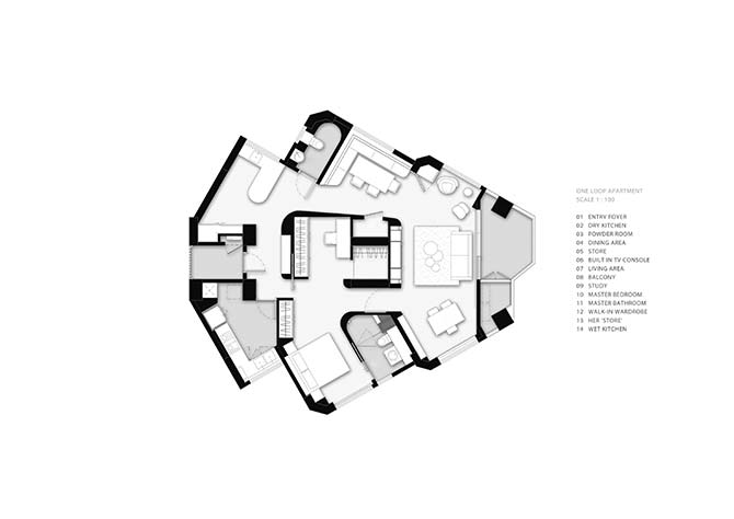 After: The redesigned apartment loops into itself in a ribbon of connected spaces