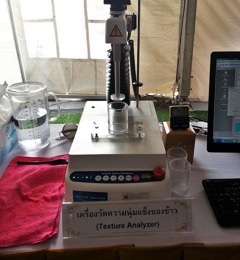This machine tests the stickiness of of each batch.