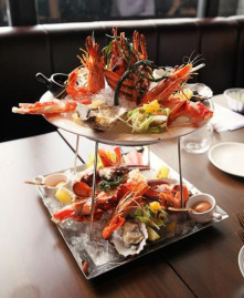 Two tiers of seafood pleasure