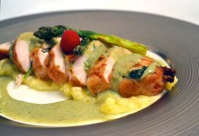 Caffe B's Chicken Roulade stuffed with Foie Gras is a rich option