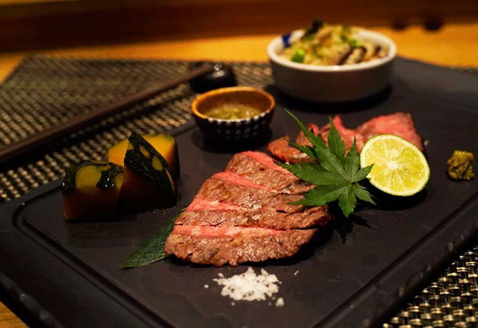 Fat Cow's six-course Japanese Wagyu Set Dinner comes with a complimentary glass of whiskey or champagne