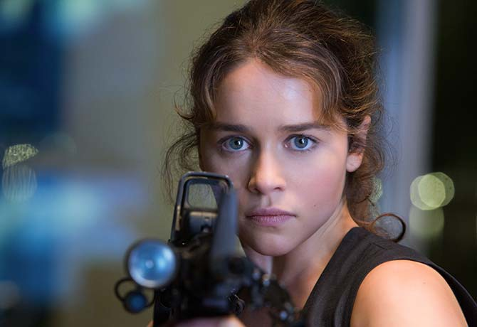 In this alternate time line, Sarah Connor (Emilia Clarke), was raised by an older model of the T-800 (Arnold Schwarzenegger)